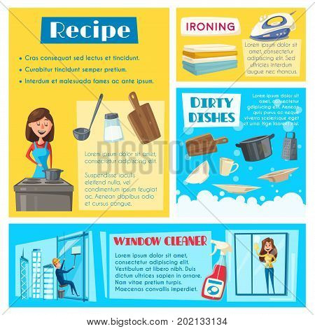Housework washing, room cleaning and dish cooking poster or banners templates set. Vector flat housewife woman wash dishware or cook in kitchen, ironing linen or clean windows with man cleaner worker