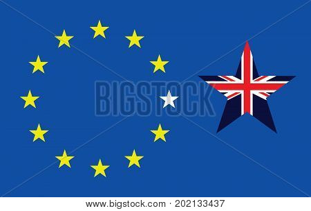 Representation of the United Kingdom breaking away from the European Union resulting from the June 2016 referendum
