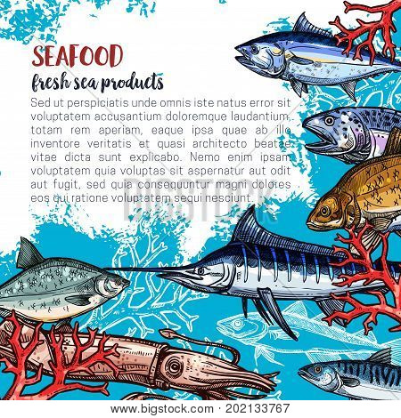 Seafood and fish food products posters template for fish and sea food market. Vector design of fresh marlin, octopus or flounder, salmon or tuna and prawn shrimp, lobster crab or squid and trout catch