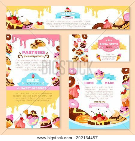 Bakery shop or pastry patisserie banners and posters templates set. Vector dessert cakes and pastry cupcakes, chocolate biscuits or brownie and tiramisu, fruit pies and puddings or ice cream for cafe