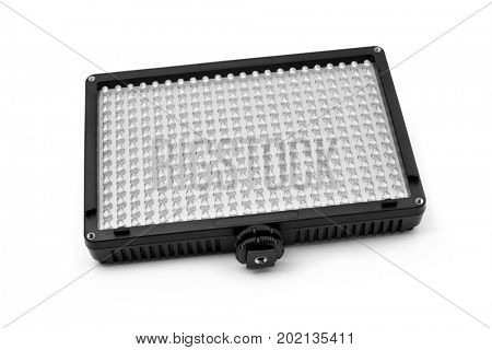 closeup of a LED panel on a white background