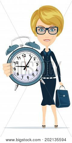 Time management. woman with alarm clock. Young businessman in business concept isolated on white. Stock flat vector illustration.