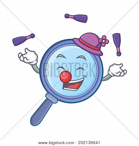 Juggling magnifying glass character cartoon vector illustration