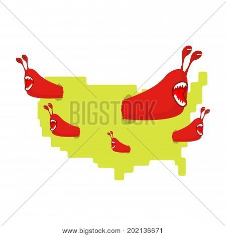 Red Communist Worms Eat Map Usa. Pests In America. Parasites In United States
