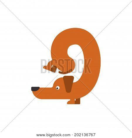 Figure 9 Dog. Dachshund Font Nine. Home Pet Abc Symbol. Home Animal An Alphabet Sign