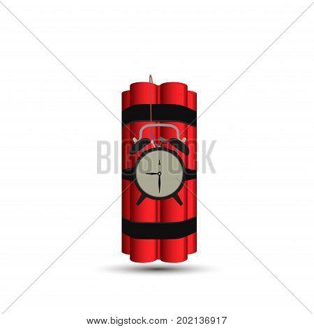 Bomb vector dynamite time red illustration background. Detonator danger clock tnt timer power.