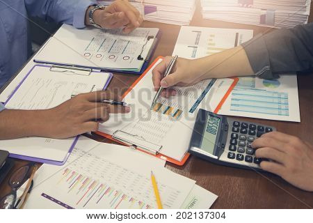 Business And Finance Concept Of Office Working, Businessmen Discussing Analysis Account Balance Char