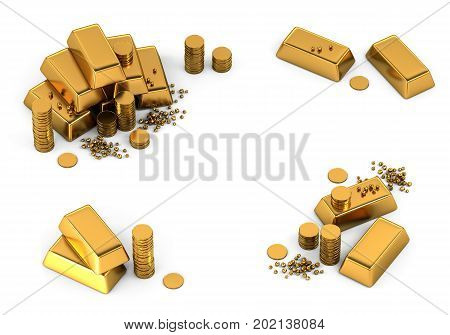 3d gold bars and coins frame on white