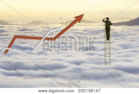 Businessman climb ladder to reach sky and cloud with increasing graph and broken fail graph, successful