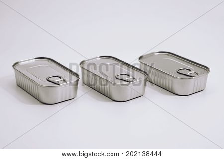 close up food tin can on the white background