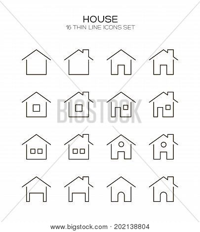 Home icon set. Collection of house line icons. 16 high quality logo of home button on white background. Pack of symbols for design website, mobile app, printed material, etc.