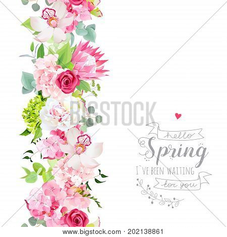 Vertical seamless line garland with pink hydrangea, orchid, white peony, protea, rose flowers, mint eucalyptus, mixed green plants. Floral vector design frame. Banner stripe. All elements are isolated