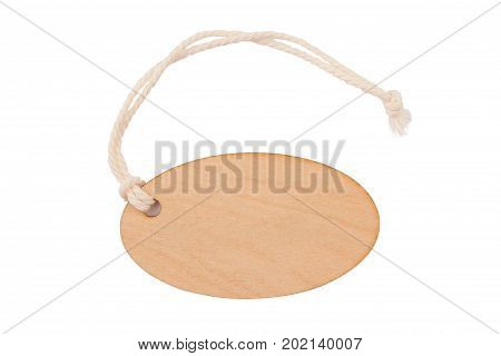 top view of empty wooden seal swing tag with fiber thread and copyspace isolated on white background