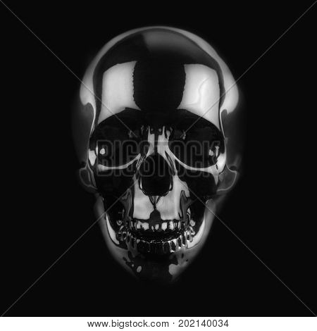 front view of polished shinny wooden skull on dark background