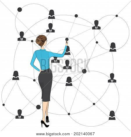 Businessman woman draws a global business scheme people connection.Stock vector illustration