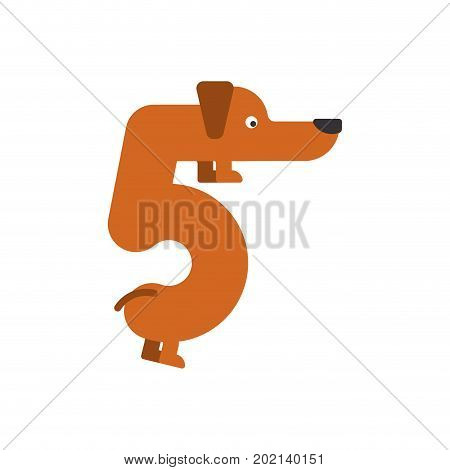 Figure 5 Dog. Dachshund Font Five. Home Pet Abc Symbol. Home Animal An Alphabet Sign