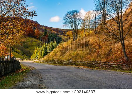 Fences Along The Road In Picturesque Rural Area