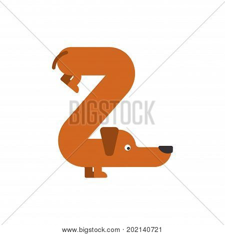 Letter Z Is Dog. Pet Font. Dachshund Alphabet. Lettering Home Animal