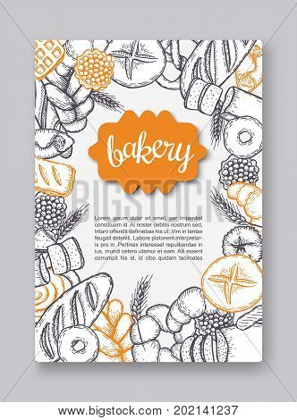 Hand drawn decorative fresh bread bakery flyer . Vector Illustration.