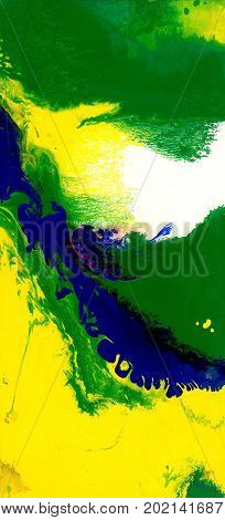 Abstract yellow and green artistic background. Spots and streaks of colors.