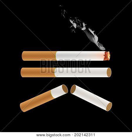 Cigarette Burning with Smoke. Vector Illustration. isolated on Black Background.