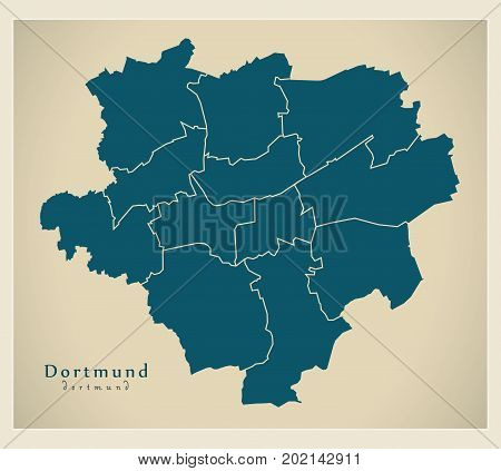 Modern City Map - Dortmund City Of Germany With Boroughs De
