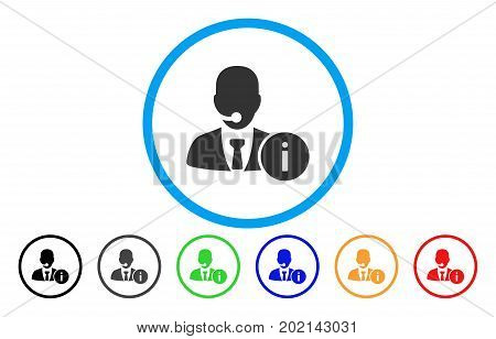 Help Desk Manager vector rounded icon. Image style is a flat gray icon symbol inside a blue circle. Additional color versions are gray, black, blue, green, red, orange.