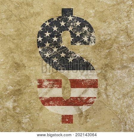 Us Dollar Flag Icon Sign Over Grunge Background