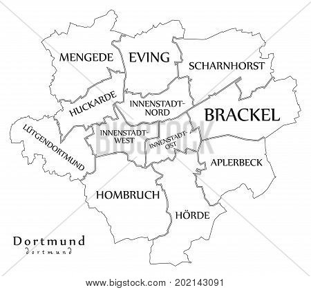 Modern City Map - Dortmund City Of Germany With Boroughs And Titles De Outline Map