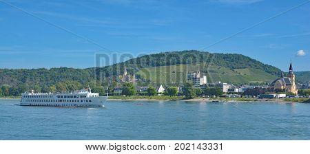 Village of Bad Hoenningen at Rhine River,Rhineland-Palatinate,Germany