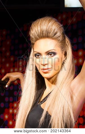 BANGKOK THAILAND - DECEMBER 19: A waxwork of Beyonce Knowles on display at Madame Tussauds on December 19 2015 in Bangkok Thailand.