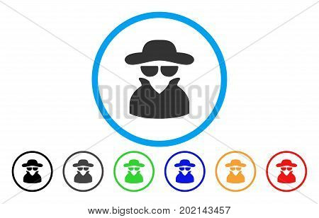 Spy vector rounded icon. Image style is a flat gray icon symbol inside a blue circle. Bonus color versions are gray, black, blue, green, red, orange.