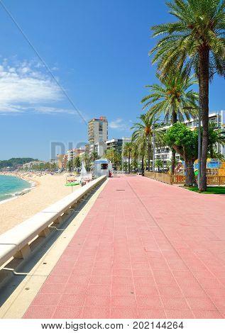 Promenade of Lloret de Mar at Costa Brava,mediterranean Sea,Catalonia,Spain