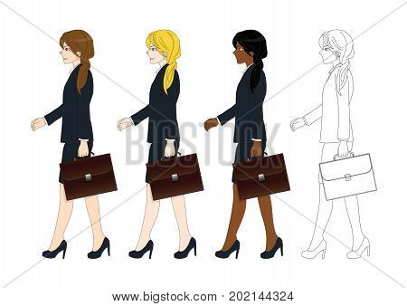 Set Cute Business Woman holding a Brief Case while Walking. Side View. Full Body Vector Illustration. isolated on White Background