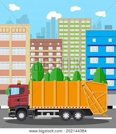 Truck for assembling and transportation garbage. Car waste disposal. Can container, bag and bucket for garbage. Recycling and utilization equipment. Cityscape. Vector illustration in flat style