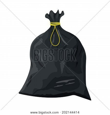 Plastic garbage bag with rope icon. Container for trash isolated on white. Garbage recycling and utilization equipment. Waste management. Vector illustration in flat style