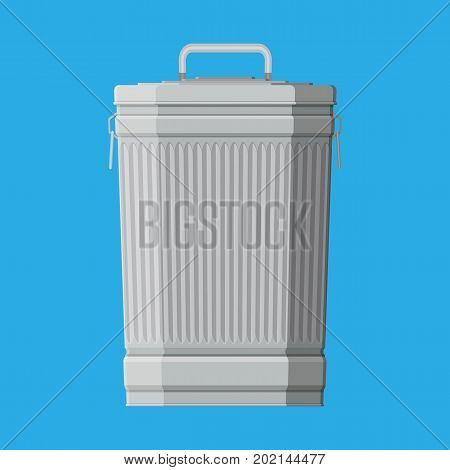 Huge waste trash can isolated on blue. Container for garbage. Metal bucket. Garbage recycling and utilization equipment. Waste management. Vector illustration in flat style