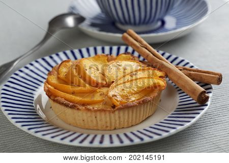 Peach tart and cinnamon sticks on a plate closeup