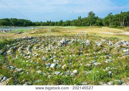 Stone Labyrinth On The Solovki.
