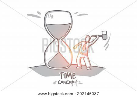 Time concept. Hand drawn hourglass time passing. man truing stop time isolated vector illustration.