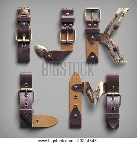 3d vintage steam-punk alphabet set made of old leather belts with brass buckles.