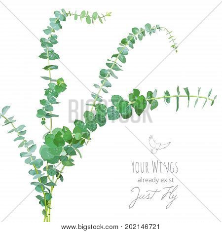 Watercolor style eucalyptus branches bouquet. Hand painted eucalyptus elements. Floral frame isolated on white background. Vector greenery illustration for rustic, simple, natural wedding design.