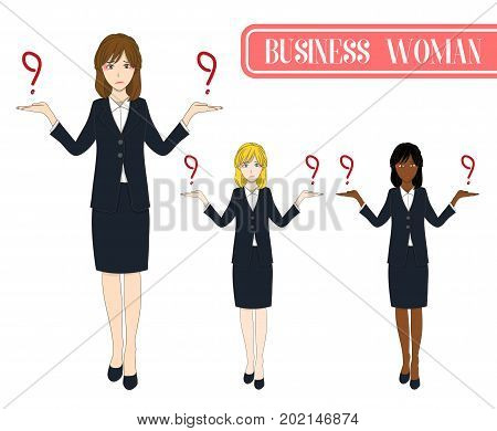 Set Cute Business Woman Making Selection with Serious Face. Full Body Vector Illustration. isolated on White Background