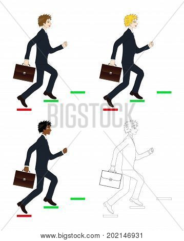 Set Handsome Business Man holding a Brief Case while Running to Goal. Full Body Vector Illustration. isolated on White Background