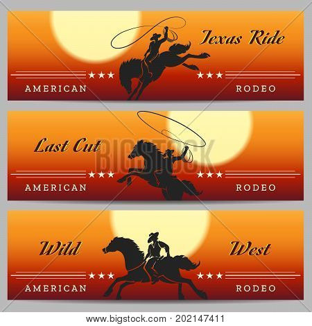 Cowboy Rodeo horizontal banners set with desert rodeo and rider silhouettes. Vector illustration