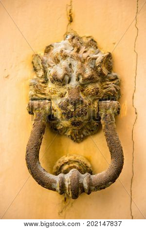 Close-up View Of Ancient Rusty Lion Head Shaped Knocker