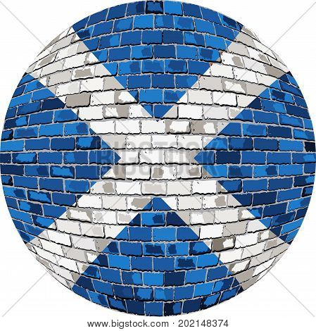 Ball with Scotland flag in brick style - Illustration,  Abstract Grunge Mosaic flag of Scotland in circle