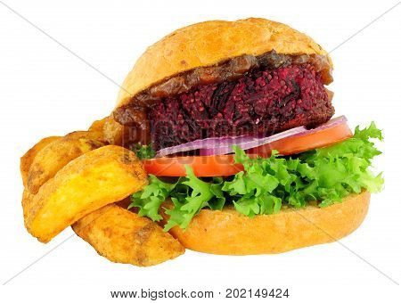 Vegan beetroot burger with salad in a crusty bread roll