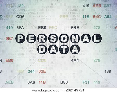Data concept: Painted black text Personal Data on Digital Data Paper background with Hexadecimal Code