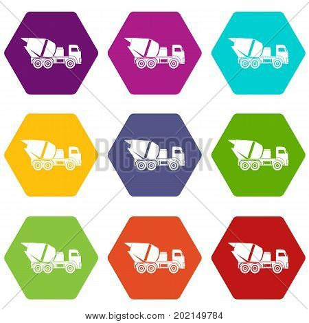 Building mixer for concrete icon set many color hexahedron isolated on white vector illustration